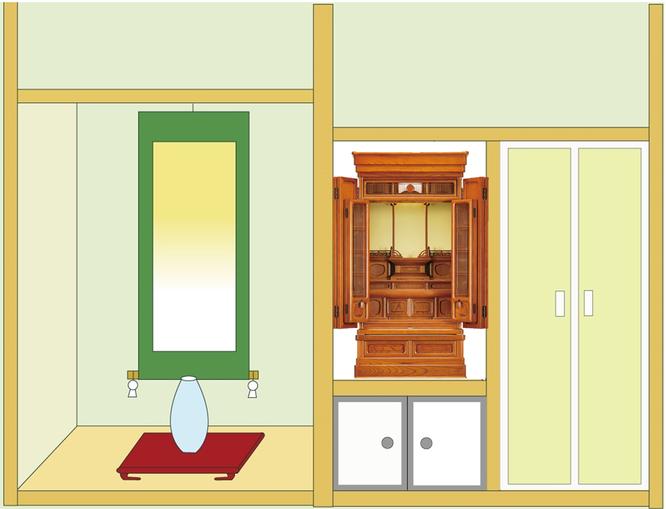 欅仏壇「ゆたか2型 筬」20号を地袋付仏間に設置