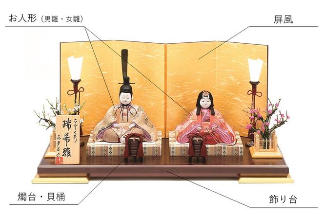 真多呂人形「瑞花雛」金屏風セット