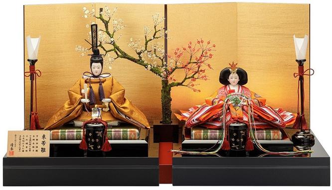 優香作ひな人形「親王飾り」黄櫨染御袍 京十一