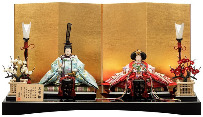 優香作ひな人形「親王飾り」花喰鳥 京十二
