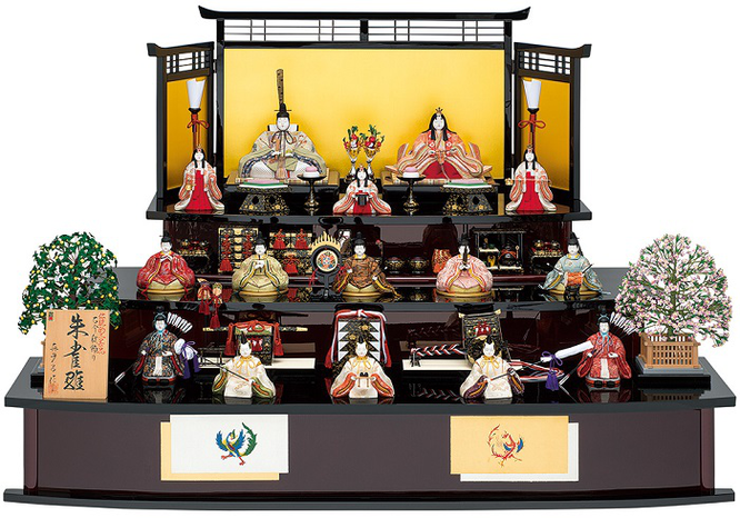 真多呂人形「本金 朱雀雛15人飾り」伝統的工芸品 品番:1302