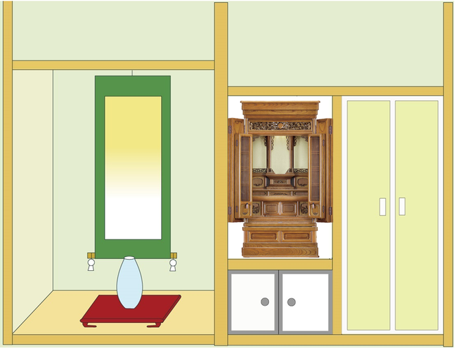 欅仏壇「ゆたか2型 彫」20号(神代色)を地袋付仏間に設置