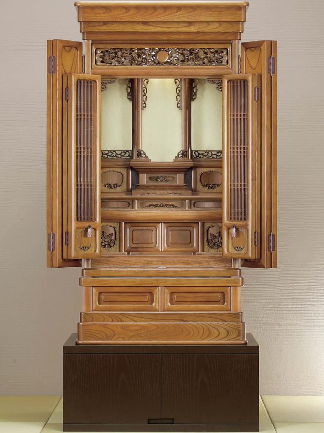 欅仏壇「ゆたか2型 彫」20号 仏壇台