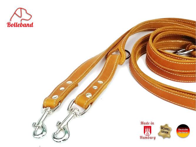 Lederleine Hund in cognac 1,5 cm breit 2 m lang mit 3 Verstellmöglichkeiten und 2 Karabinern von Bolleband