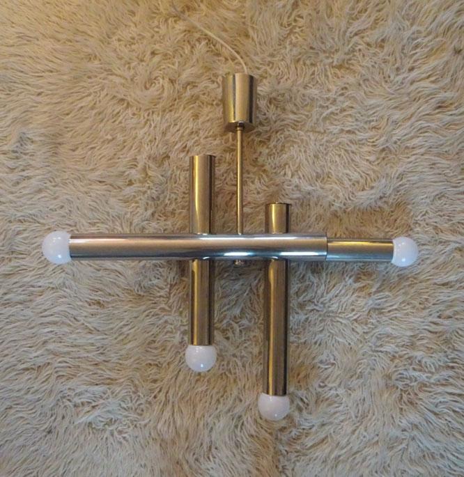 joli, lustre acier chromé, suspension, Gaetano Sciolari, lustre années 70