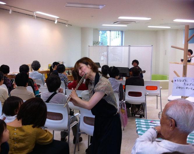 千歳烏山コミュニティカフェななつのこ(フルート西田紀子・ギター小山大介)