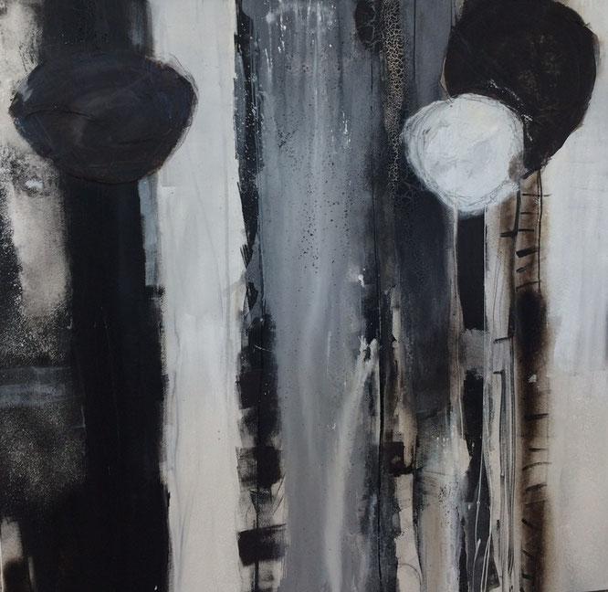 Bild: Wildtulpen: 120 x 120 cm, auf Leinwand, Acryl-Mischtechnik mit Bitumen