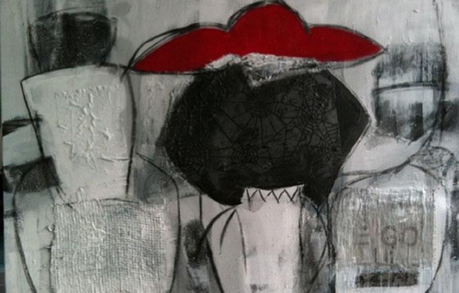 Bild: Die behuetete Frau: 80 x 120 cm, auf Leinwand, Acryl-Mischtechnik (in Privatbesitz)