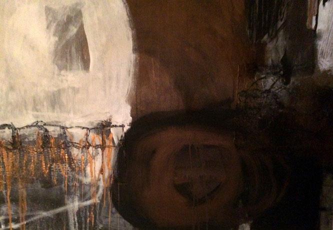 Bild: Tresor, 80 x 100 cm, auf Leinwand, Acryl-Mischtechnik mit San dund Bitumen