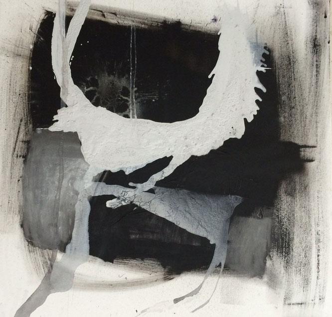 Bild: Ausleben von Gefühlen: 100 x 100 cm, auf Leinwand, Acryl-Mischtechnik, mit Bitumen