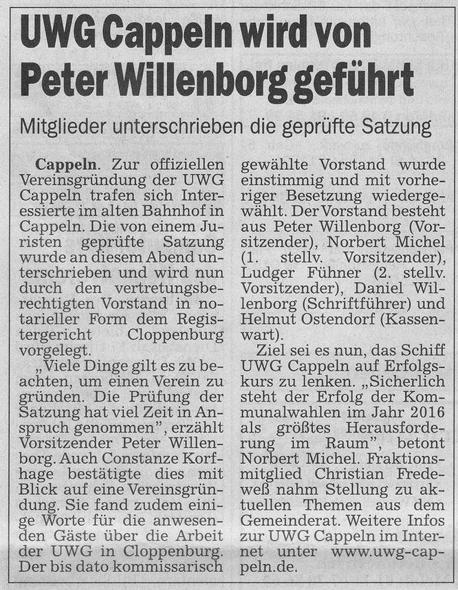 UWG Cappeln wird von Peter Willenborg geführt