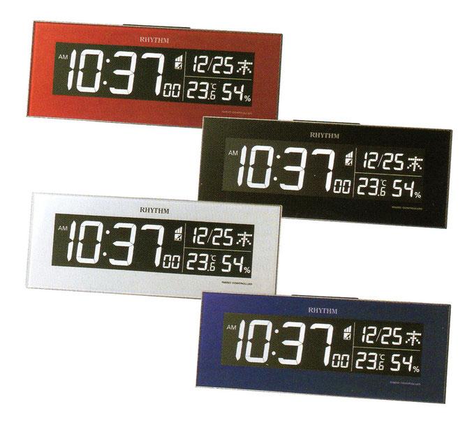 表示画面が様々な色に変化する電波掛置き兼用クロック
