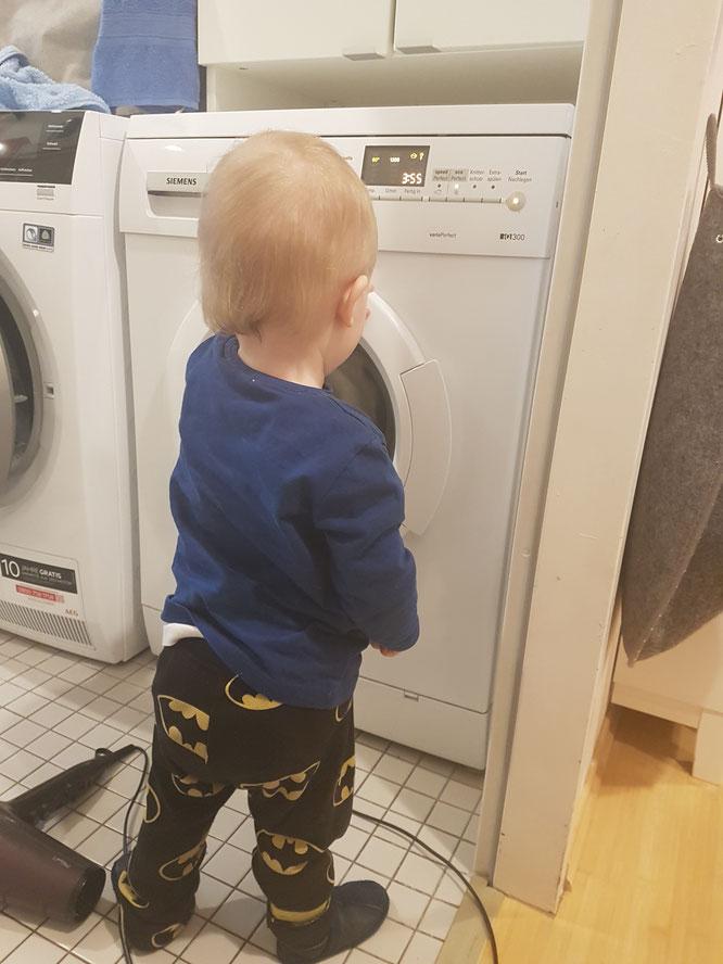 15 Monate altes Kleinkind im Entwicklungsschub und an der Waschmaschine.