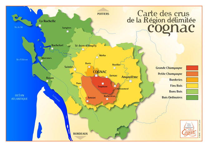 Map of the Crus of the Cognac region