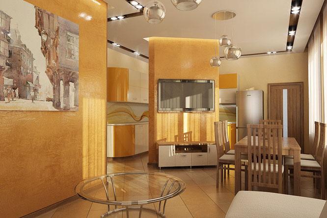 интерьер зала-кухни в современном стиле