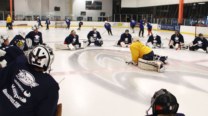 Ice Hockey Camp Los Angeles, California, led by Reto Schurch, Goalie Action