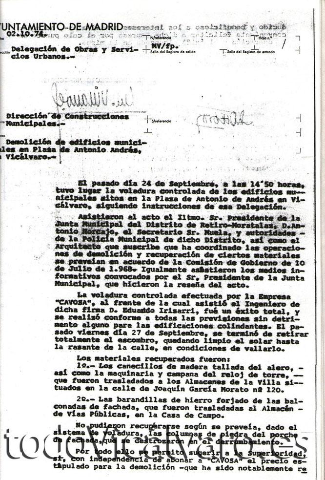 Acta de demolición del Ayuntamiento de Vicálvaro del 24 de septiembre de 1974 (Documento cedido por Vicus Albus)