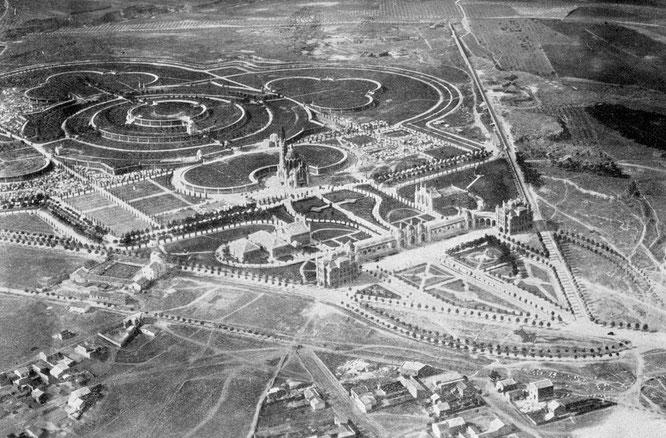 Imagen aérea de la necrópolis del este de 1929, en la que de puede observar su gran extensión (historias-matritenses.blogspot.com.es)
