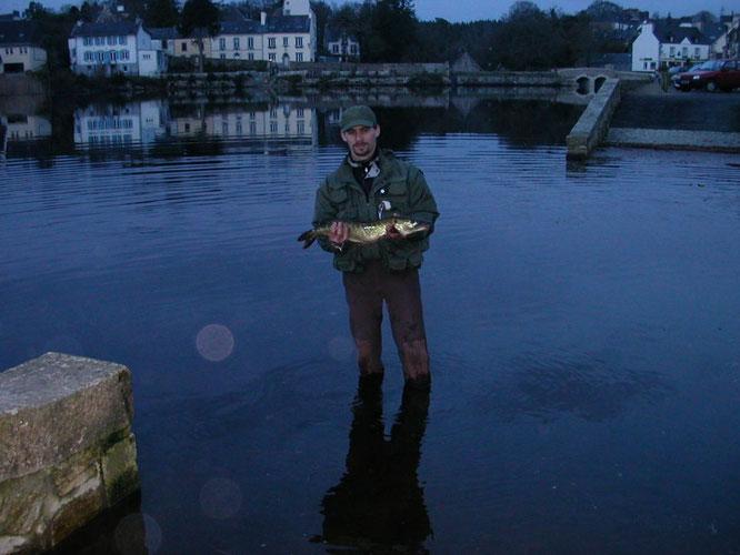 Ci-dessus un brochet de Noël sur l'étang de Huelgoat (29); température extérieure 2°C, quelques poissons peuvent tout de même être actifs...