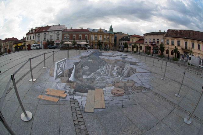 the 3D painting in Wieliczka's rynek