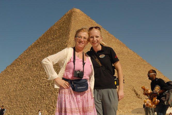 With my Mum in front of the Pyramids of Giza. She came to cruise with me on my second contract.