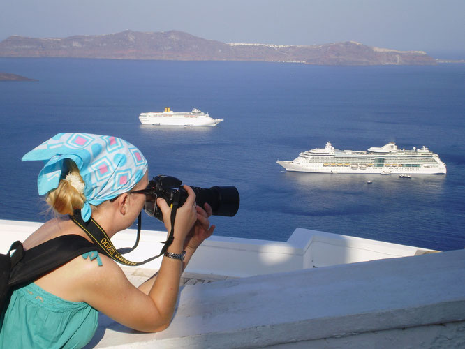 Photographing Brilliance of the Seas seen from Santorini island, Greece
