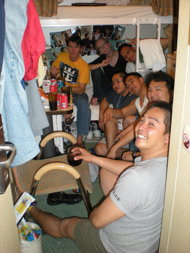 Cabin party of my team. This is how small they were