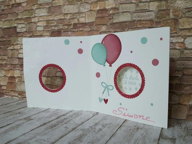 Peekaboo # Geburtstagskarte basteln # Kindergeburtstag # Luftballon # Grüße