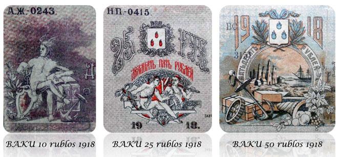 Rusia serie rublos Azerbaiyan -Baku City 1918 viñetas
