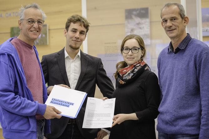 v.l.n.r. Eberhard Klein, Friedrich Haupt, Sandra Maier, Prof. Dr. Thomas Hinz - Foto: Universität Konstanz