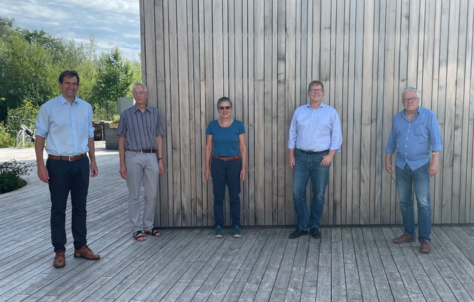Austausch über aktuelle umweltpolitische Themen (v.l.nr. Andreas Jung, Eberhard Klein, Martina Wunderle-Götz, Jörg-Andreas Krüger, Thoams Körner)