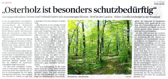 Ludwigsburger Kreiszeitung vom 05.05.2015 - Osterholz ist besonders schutzbedürftig