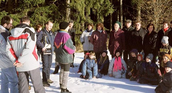 Tierspurenexkursion NABU Waldachtal in 2002 - begleitet vom Radio SWR4