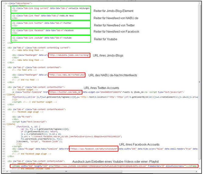 Hier sehen Sie an welchen Stellen Sie den Code ändern müssen, damit ihre Feeds eingebunden werden.