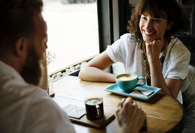 Gespräch, Paar, Kaffee