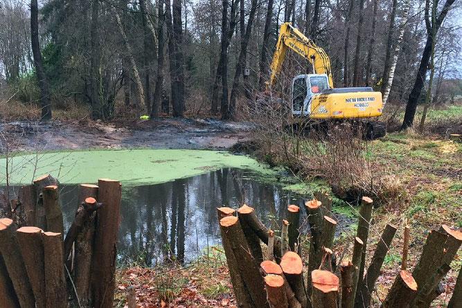 Baggerarbeiten am Teich - Foto: NABU / Kuhlmann