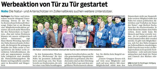 Hohenzollerische Zeitung, 30. August 2018