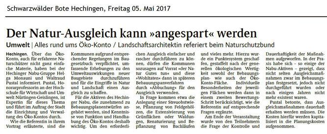 Schwarzwälder Bote 05. Mai 2017