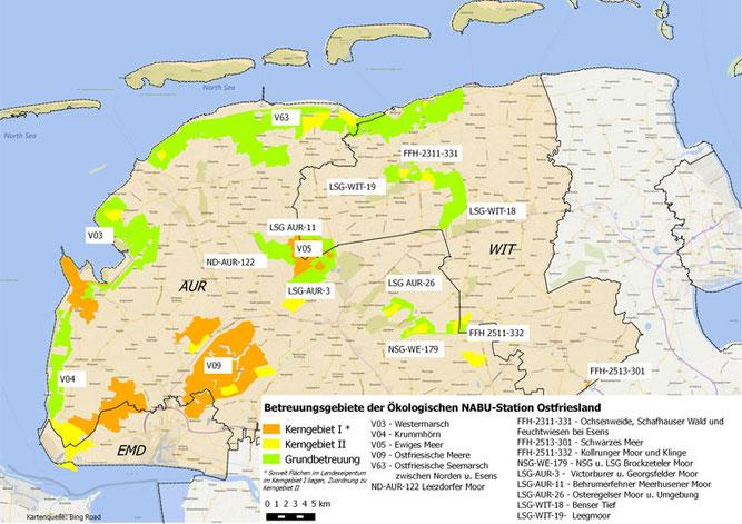 Das Betreuungsgebiet umfasst ca. 30000 ha in den Landkreisen Aurich und Wittmund sowie der Stadt Emden.