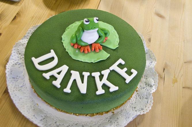 Diese Froschtorte  ist von der Bäckerei Quasten aus Kommern hergestellt worden. Foto: NABU/Günter Lessenich