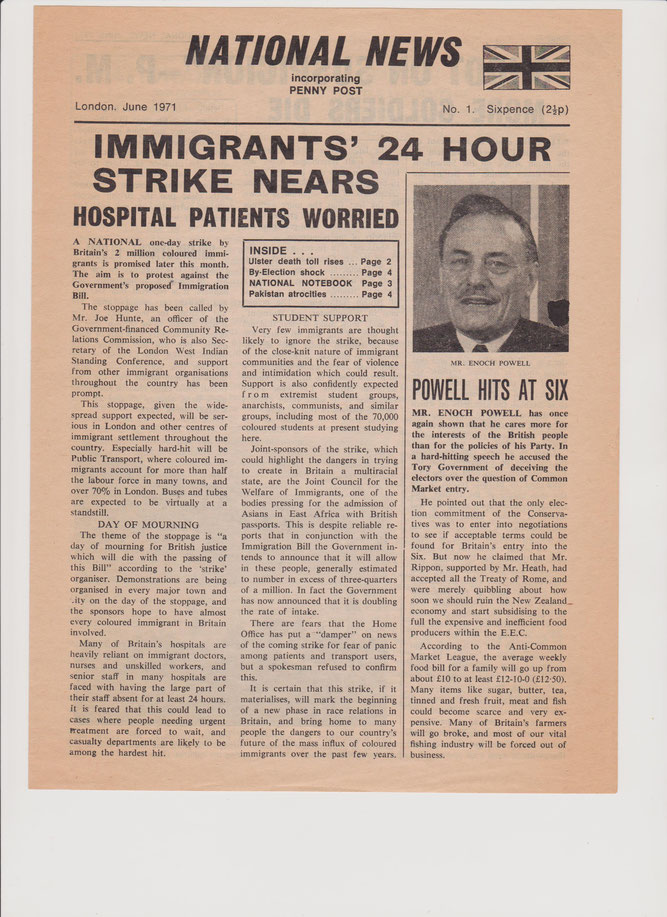 Old edition of the National News incorporating the Penny Post newspaper from 1971
