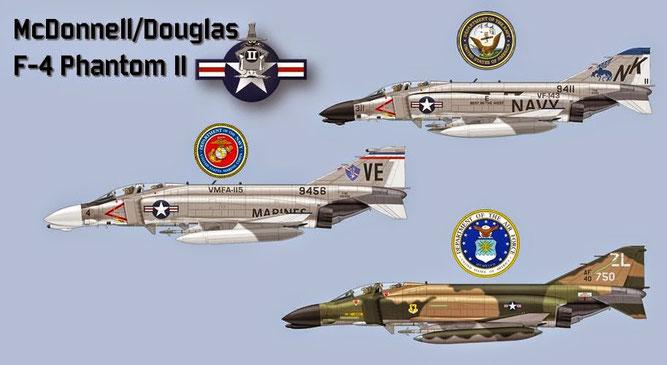 Gli F-4 in dotazione alle tre forze aeree degli USA. Immagini di Claverwork Graphic - Image Processing di AeroStoria.