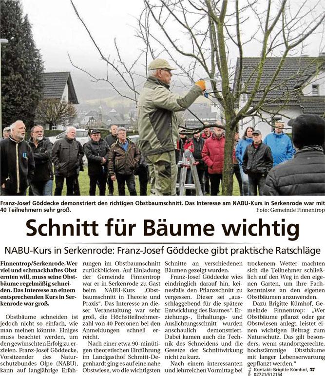 NABU Olpe Serkenrode Obstbaumschnitt Gemeinde Finnentrop Franz-Josef Göddecke