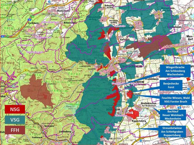 Unser Einzugsbereich mit den Schutzgebieten und Biotopen des NABU Mittelhaardt