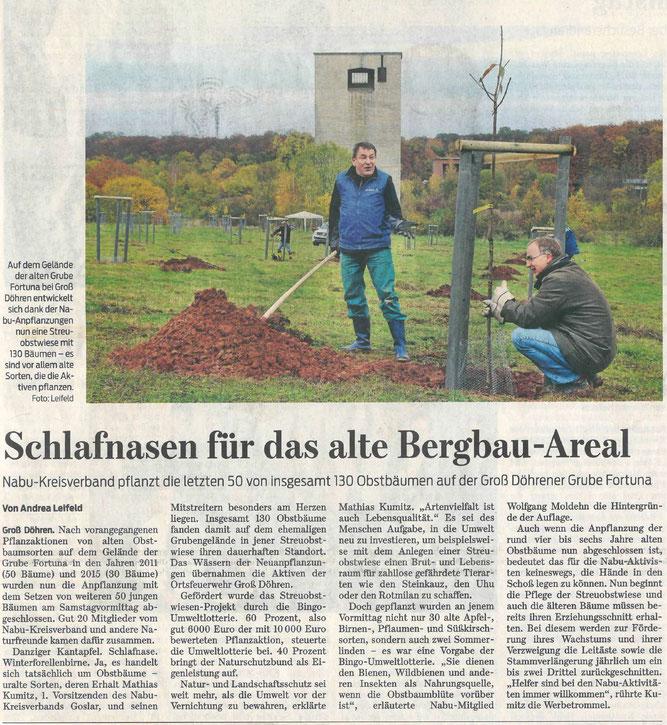 Presseartikel Goslarsche Zeitung vom 07. November 2016