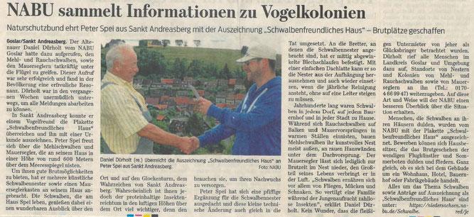 Presseartikel Goslarsche Zeitung vom 13. Juni 2016