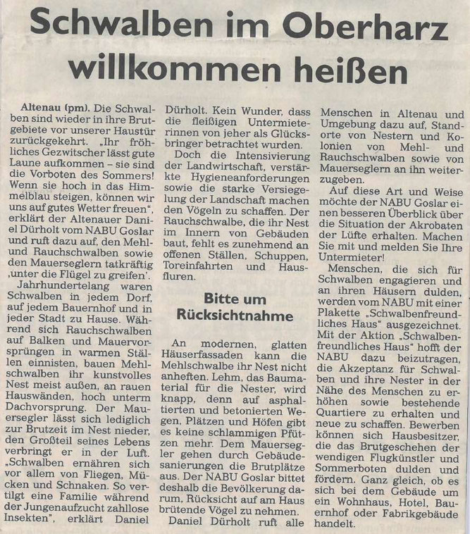Presseartikel Goslarsche Zeitung vom 12. Juni 2016