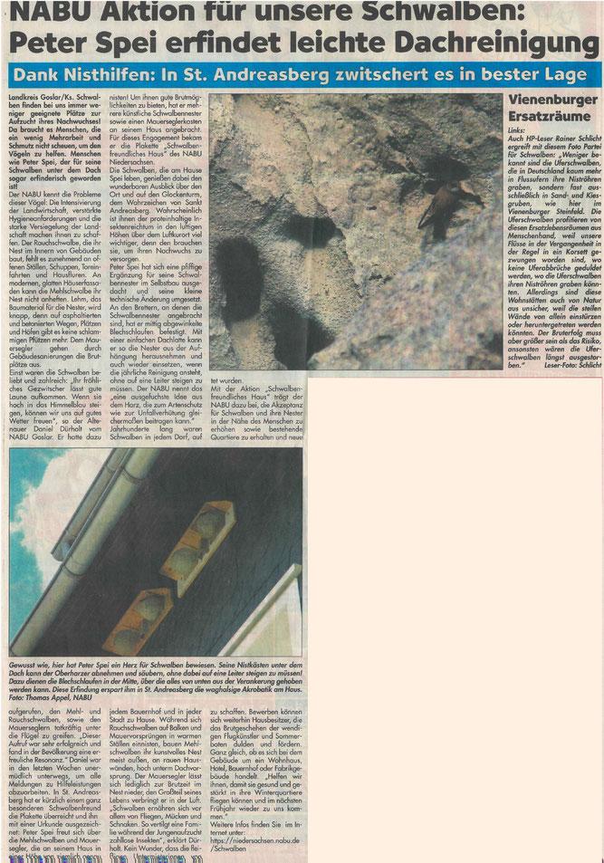 Presseartikel Harzer Panorama vom 17. Juli 2016