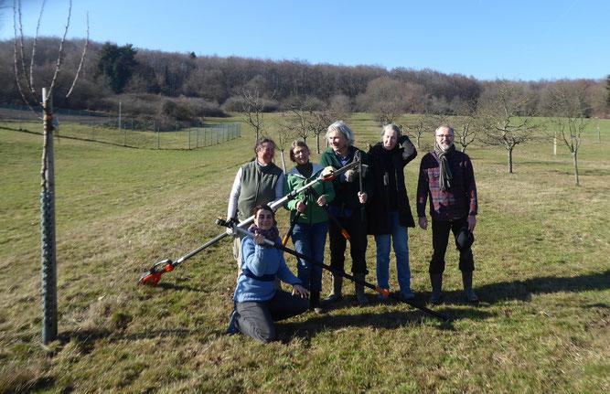 Teilnehmer des von Frau Helling vom geleiteten Main-Taunus Naturlandschaft und Streuobst e. V. Obstbaumschnittkurs im Februar 2019 (Foto K. P. Lange)