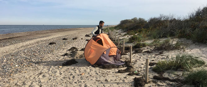 Foto Altes Zelt am Strand des NSG Riedensee